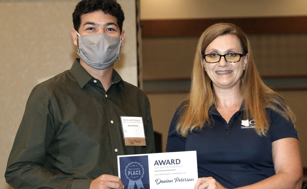Davian Peterson Getting Award for Water Research